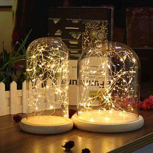 Glass Dome Bell Jar Cloche Display Wooden Base 20 LED Fairy String Light Home Decor Bedroom Desk Night Light for Christmas Gift