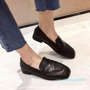 Woman Loafer Slip On Moccasin Square Toe Low Chunky Stacked Heels Dual Use Mules Sliders Slipper Work Shoes Office Formal Winter c09