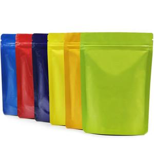 8 colori disponibili mylar chiusura lampo in piedi sacchetto richiudibile conservazione degli alimenti colorati cerniera borsa di caffè a prova di sé sacchetto del pacchetto frutta secca umidità
