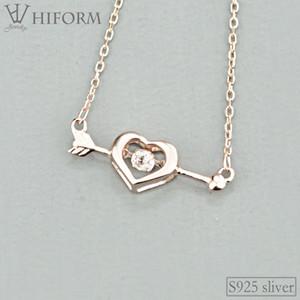 925 стерлингового серебра сердца Стрелка ожерелье для женщин с цирконом Серебро и розовый цвет S925 ювелирные подарки 2020