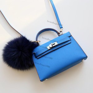 Nouveau Couleur Bleu de 22cm Mini Sacs de mode femmes Totes sacs en cuir véritable Sac à bandoulière avec écharpe de verrouillage cheval dame sac à main de haute qualité 00