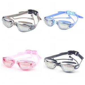 Occhiali da nuoto placca uomini e donne moda tappi per le orecchie antiappannamento grande telaio occhiali impermeabile estate spiaggia portatile vendita calda 14yn1