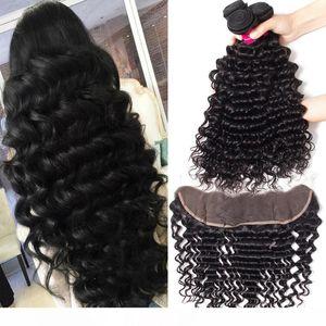 H 8a Remy umani brasiliani fasci di capelli con chiusura Body Wave diritta onda allentata riccio crespo onda profonda 100% non trattati Virgin capelli Wh