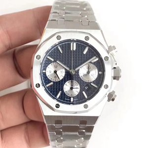 Montre de Luxe Watch Mens Chronograph Quartz Watches Classic Blue Leather Strap 5 ATM ماء سوبر مضيئة اليابان حركة VK