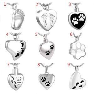 IJD8455 Pet Human Footprint Memorial Urn Necklace for Loved One Ashes Keepsake,Stainless Steel Footprint Cremation Pendant