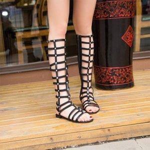 Bayan Kadın Ayakkabı Moda Gladyatör Sandalet strappy Düz Diz Yüksek Uzun Yukarı Boots Perçin Hollowed aşımı Sandalet Ayakkabı Zip