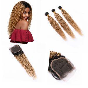 """Ombre humaine Bundles cheveux avec fermeture 4"""" * 4"""" Dark Racine Ombre Kinkys bouclés Bundles cheveux crépus bouclés # 1B / # 27 Couleur"""