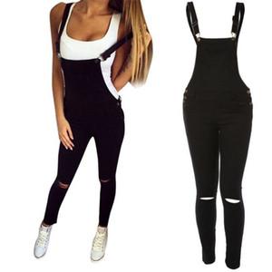 Jeans Overall Damenmode Damen Slim Denim Lätzchen Loch Overalls Schultergurt Demin Hose Overall Schwarz