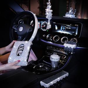 diamante rhinestone a cristallo sterzo accessori dell'automobile scatola decorazione in pelle coprivolante ciondolo ornamenti tessuto donne bambine