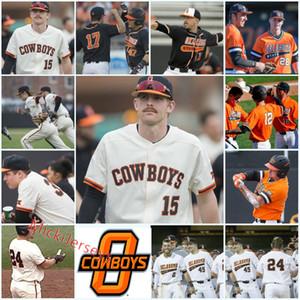 Personalizzato Oklahoma State Cowboys baseball Jersey Jake Taylor Jon Littell Michael Neustifter Colin Simpson Jake Purl Joe Lienhard OSU Jersey