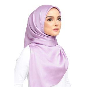 90 * 90cm Solid Color Frauen quadratischer Silky Schal Weich Großer Satin Silk Muslim Hijab Kopftuch Süßigkeit-Farben-Damen-Stirnband-Wrap