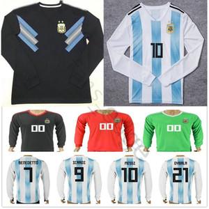 2018 Copa do Mundo Argentina Long Sleeve Jersey 10 MESSI MARADONA 20 KUN AGUERO 21 DYBALA 6 BIGLIA ICARDI Home Soccer Football Shirt