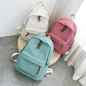 for pure color School Bags Teenage Girls Kids canvas Children Student Backpack Travel Teen Shoulder Bag Child Schoolbag Female