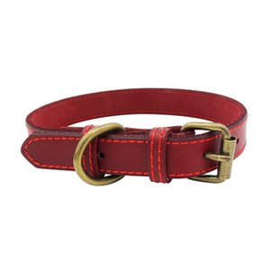 Trsnser Hundehalsband Brown-Haustier-Hunde Hals Supplies Cortex Leather Soft Schwarz Einstellbare Harness 19Mer18 P35