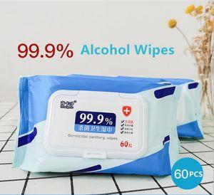 DHL Navio 75% desinfecção álcool toalhetes descartáveis mão Wipes Bactérias limpeza de pele Desinfecção toalhetes de algodão 60 Pieces / caixa Em armazém