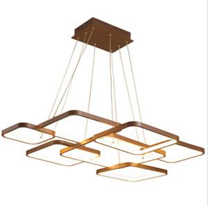 Carré Créatif Géométrique En Aluminium Lustre Chambre Salon Étude Chambre Maison Éclairage Intérieur Maison RC Dimmable Pendant Lamps
