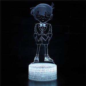 명탐정 코난 디자인 3D LED 밤 빛 아이 침실 곰 장식 환상 테이블 램프 어린이 선물