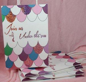 Mermaid Craft Bag With Handles Craft Paper Candy Gift Bag Cumpleaños Boda Decoración Decoración Suministros para fiestas