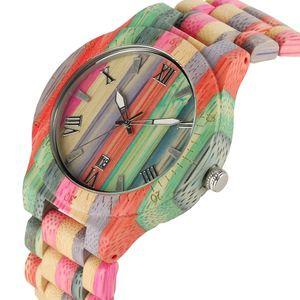 Benzersiz Renkli Erkekler Bambu Saatler Aşıklar El yapımı Doğal Ahşap Bilezik Quartz Analog Lüks saatı İdeal Hediyeler Öğeler LY191213