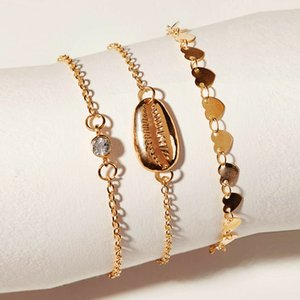 S1199 Hot Fashion Jewelry 3pcs Bracelet Set Shell Heart Beads Chain Bracelet