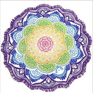Круглый Mandala пляжное полотенце Гобелен Открытый Пикник Одеяло Бросьте Yo-га Мат Bohemian Салфетка Индийский полиэстер полотенце Printed шаль Главная