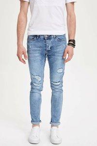 DeFacto Homme Mode Trou Bleu clair Pantalons simple Casual Classique Slim Jeans Elasticité Pantalons simple Homme -L6096AZ19SM