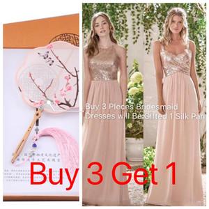 Luccicanti paillettes oro rosa abiti da sposa 2019 chiffon lungo Halter A Line cinghie increspature Blush Pink cameriera d'onore Invitato a un matrimonio Abiti