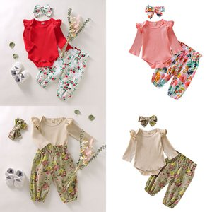 Spring Autumn Baby Floral Clothing Sets Solid Long Sleeve Romper + Flower Print Pants + Headbands 3pcs set Boutique Kids Outfits M2213