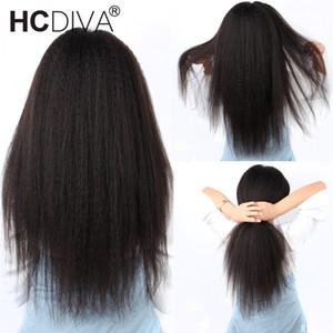 Afro Kinky em linha reta Lace Wig Parte 13 * 1 Brasileira Remy Cabelo Humano 5inch profunda Parte Lace Wig Pixie Cut peruca 150% 10--26inch