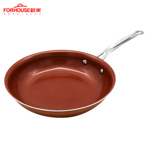 Sartén de cobre de 10 pulgadas que no es estocada Recubrimiento de cerámica Ollas de aluminio Para hornear Pasteles para pasteles Para cocina de inducción Sartén Wok