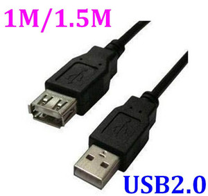 200pcs lot Newest 1m 1.5m USB to usb 2.0 A male plug female jack extension Cord Leads Wire Cable EXTENSION Lead