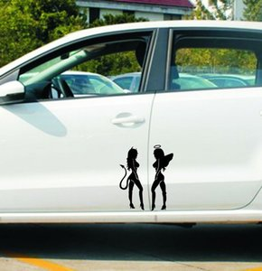 Großhandel 19cm * 14cm ANGEL DEVIL Sexy Girl Aufkleber Spaß Persönlichkeit Auto Aufkleber Auto -Styling Aufkleber Blackwhite