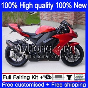 Pour le corps KAWASAKI ZX 10 R ZX1000C ZX10R 2008 2009 2010 Carrosserie 217MY.27 ZX 10R 1000CC ZX1000 ZX10R 08 09 10 pleine Carénage rouge usine