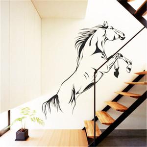 90x40CM el caballo de salto arte pegatinas de pared del vinilo de PVC Inicio Gráficos Salón Dormitorio caliente Negro mate de alta calidad Die Cut Oracal