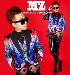 S~5XL 2019 Men Nightclub NEW Men slim DJ G-Dragon Fashion and leisure printing formal dress plus size suit singer Costumes