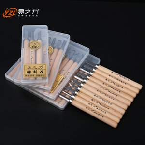 12pcs Xilografía Cuchillo de talla de madera herramientas de carpintería sistema de herramienta de mano Hobby Artes Artesanía Cuchillo de bricolaje del sello de goma del cortador
