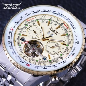 Jaragar Serie Aviator Escala militar Amarillo Elegante Dial Tourbillon Diseñador Mans Moda Relojes de lujo Marca Automático Hombre Reloj Plata