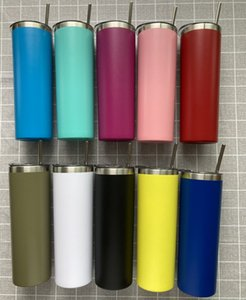 20oz powder coated skinny Tumblers Cup double wall 304 stainless steel vacuum Flask Mugs with Metallic straw Smooth seamless liner