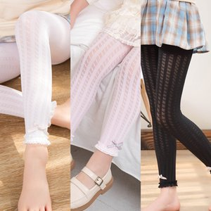 Summer Children's silk stockings anti Pilling velvet girls leggings twist bow lace tight Stockings tight pants ankle-length pants