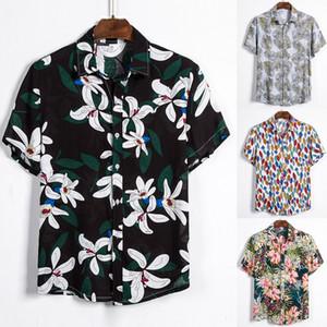 Dihope 2020 verano nuevos hombres de la moda de los hombres Camisas de manga corta impresa camisas hawaianas ES Casual salvaje clásico un botón Tops