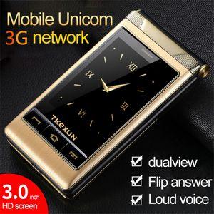 فاخرة غير مقفلة 2010 3g WCDMA Flip Phone TKEXUN G10-1 Dual touch Screen 3.0 بوصة SOS Quick Dial FM Radio Old Man Mobile Phone
