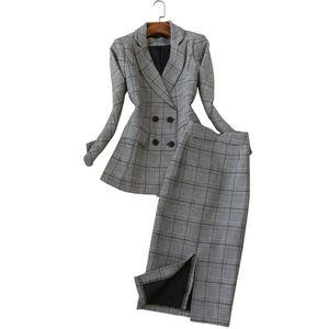 Высокое качество элегантный женский 2019 весна новая мода малый костюм мода Женская с длинными рукавами плед костюм + юбка из двух частей тонкий