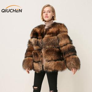 Qiuchen PJ1874 nuovo arrivo trasporto di alta qualità reale procione donne di modo di rivestimento della pelliccia outwear inverno jakcet