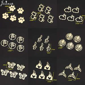 Jisensp 5 pcs / packs de aço inoxidável Pegada animal encantos para fazer jóias gato oco Vintage Encantos Pingentes bijoux