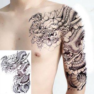 임시 귀영나팔 스티커 팔 어깨 큰 두개골교 Tatoo 스티커 용 큰 가짜 문신 남자 여자