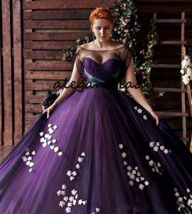 Abiti da sera viola plus size Prom Dresses 2019 Sheer Bateau collo pizzo floreale Sweep Train Applique abiti da sera d'occasione araba