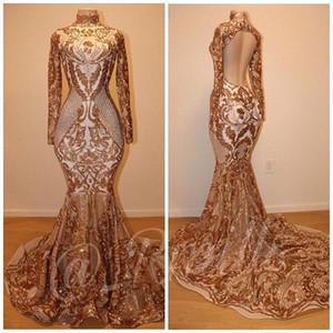 2019 Luxuriöse Gold Prom Kleider Afrikanische Meerjungfrau Pailletten Abendkleid Lange Ärmel Open Back Party Kleider BC0741