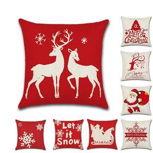 Natal travesseiro capa vermelho festival árvore de natal santa neve cervo silhueta linho travesseiro casos home sofá carro decor