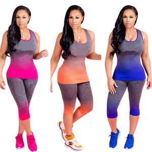 Gradient Brand Designer Tracksuit Sleeveless Vest Tanks + Leggings Tights 2PCS Women Set Letter Print T Shirt Outfit Casual Sportswear 2020
