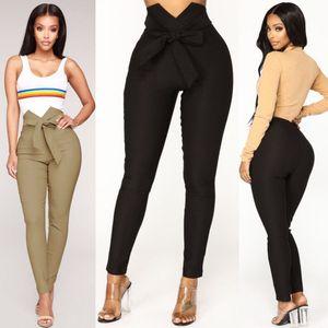 Femmes Sexy Slim Haute taille Skinny Pantalon Ceinturé Legging Long Pencil Pantalons Femme Capris